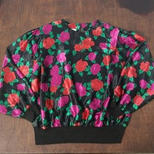Vintage 80's Floral Shapley Blouse Top Large